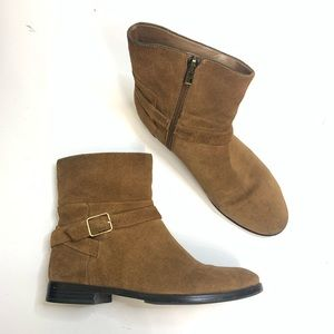 Ann Taylor Brown Suede Buckle Booties Like NEW 8.5